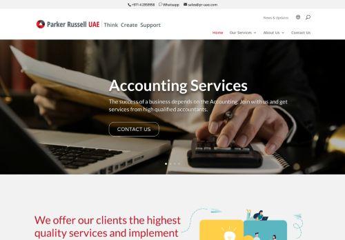 لقطة شاشة لموقع Audit Firms in Dubai | Parker Russell UAE بتاريخ 09/04/2021 بواسطة دليل مواقع موقعي